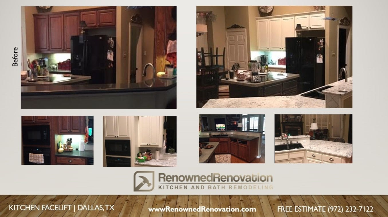 dalls-kitchen-facelift-counter-tops-cabinets - Renowned Renovation