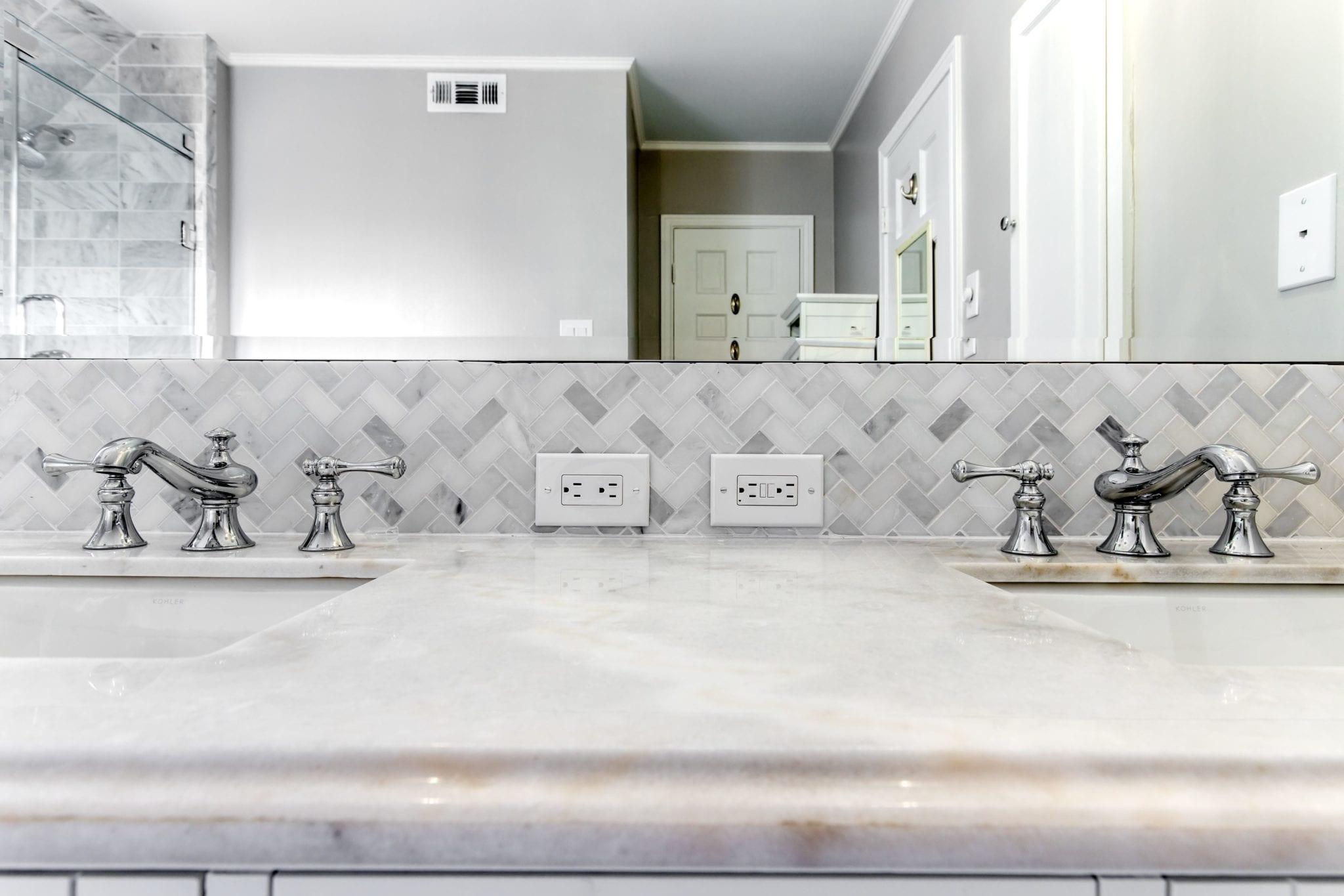 - University-Park-Bathroom-Renovation-Carrera-Marble-Herringbone