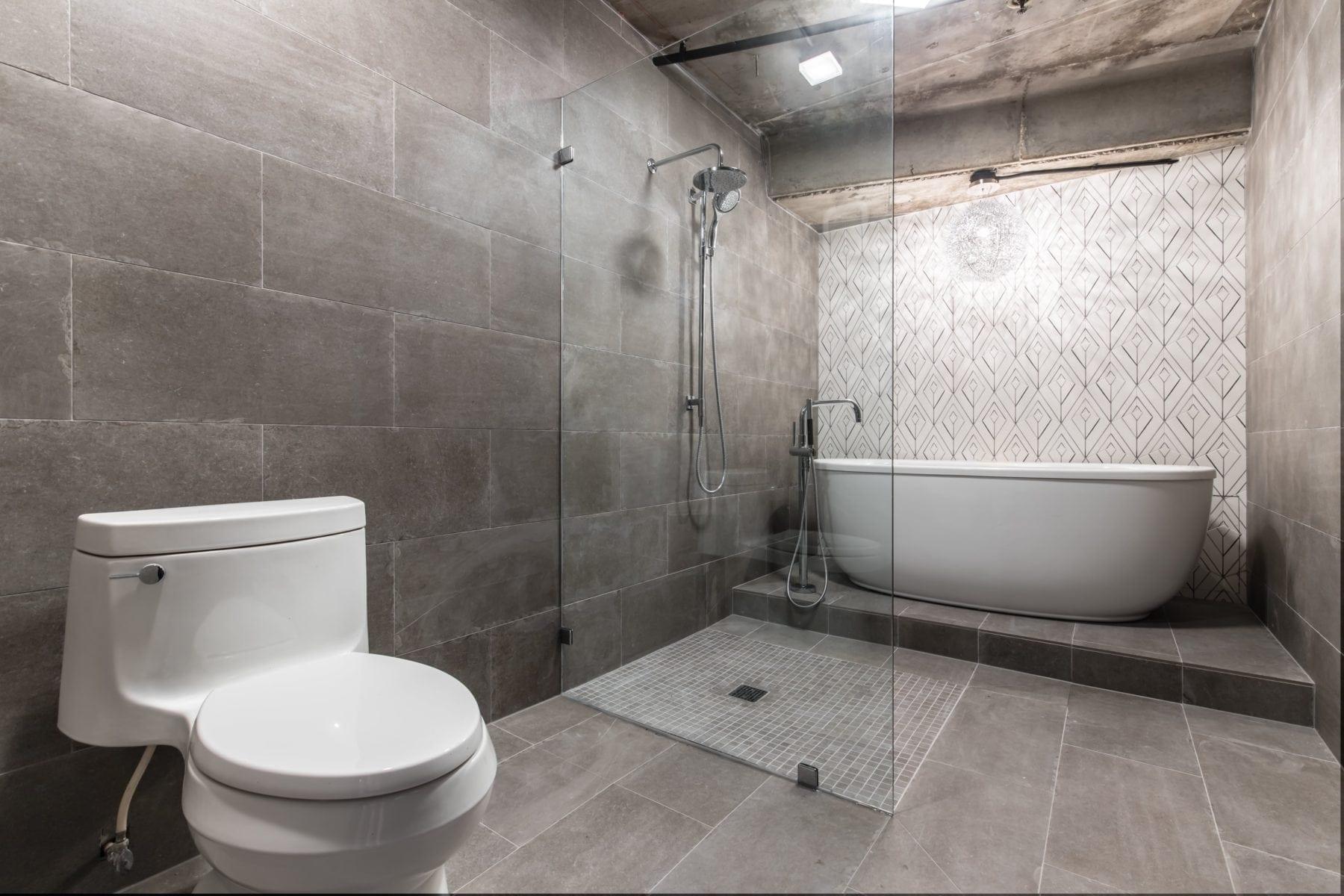 New Wet room master bathroom after Renowned Renovation Uptown Condo Bathroom Remodel
