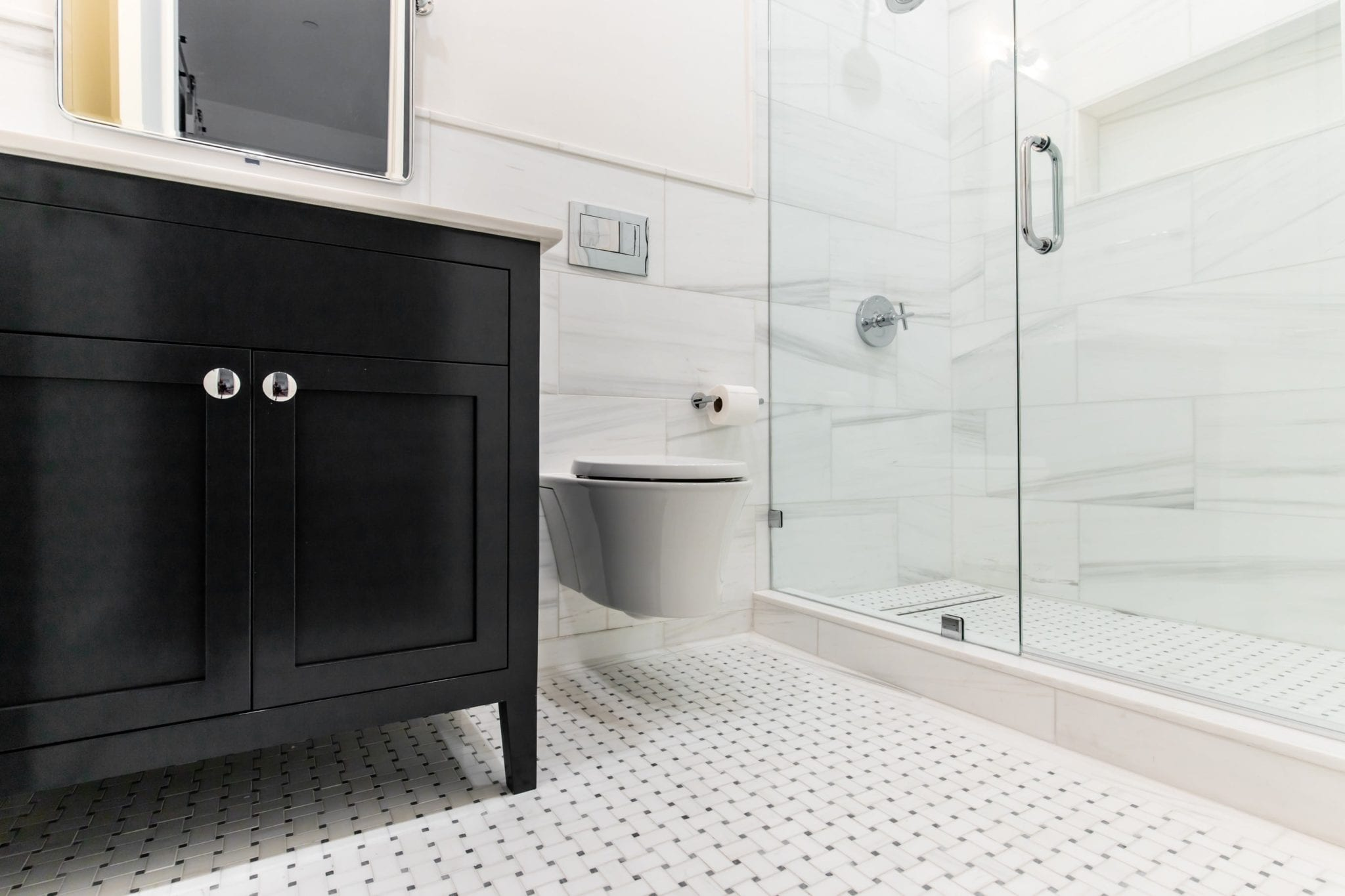 Guest-Bath-basketweave-tile-floor-Wall-Hung-TOTO-Toilet-After-High ...