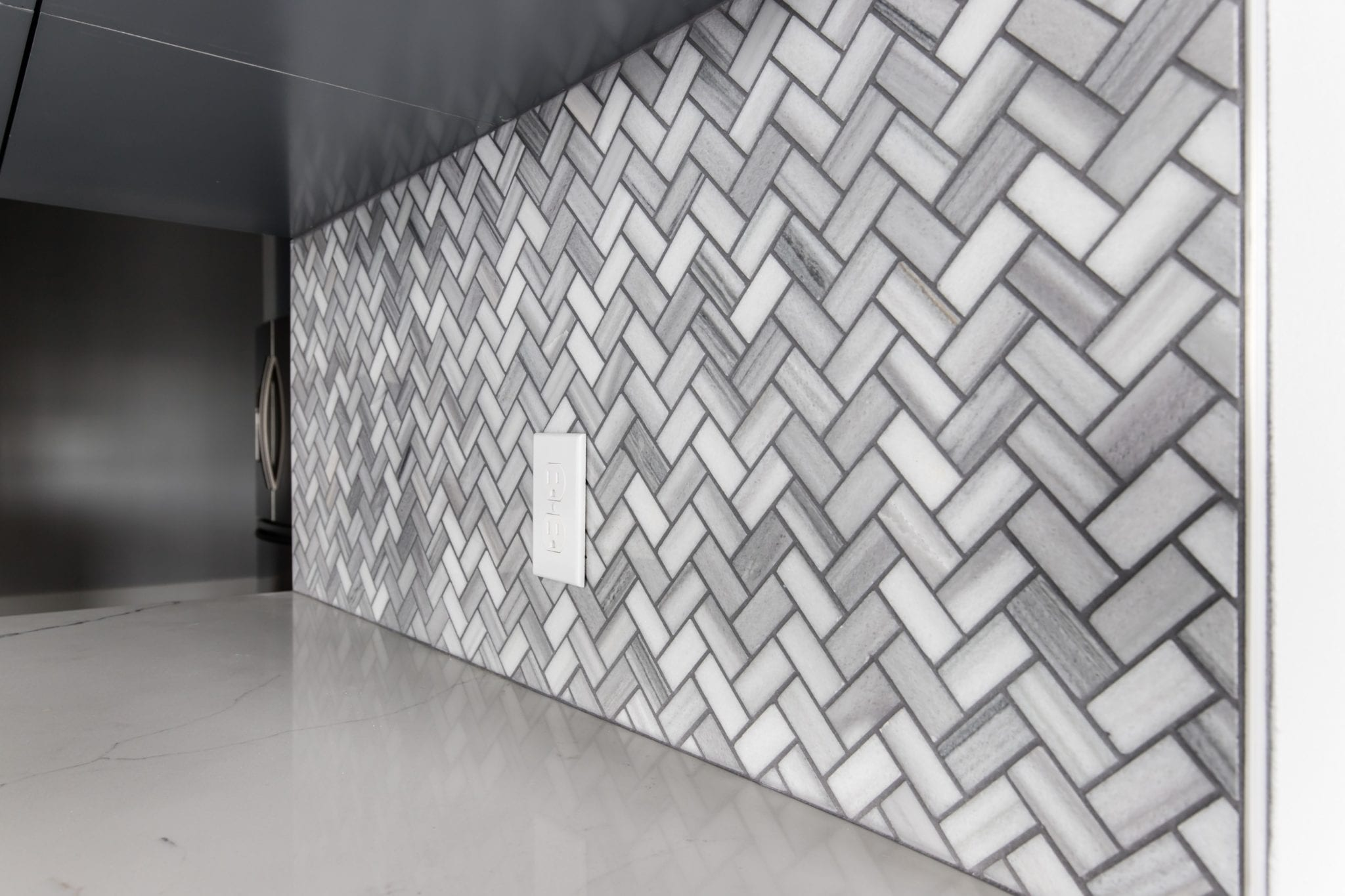 Bergamo Herringbone Mosaic Backsplash
