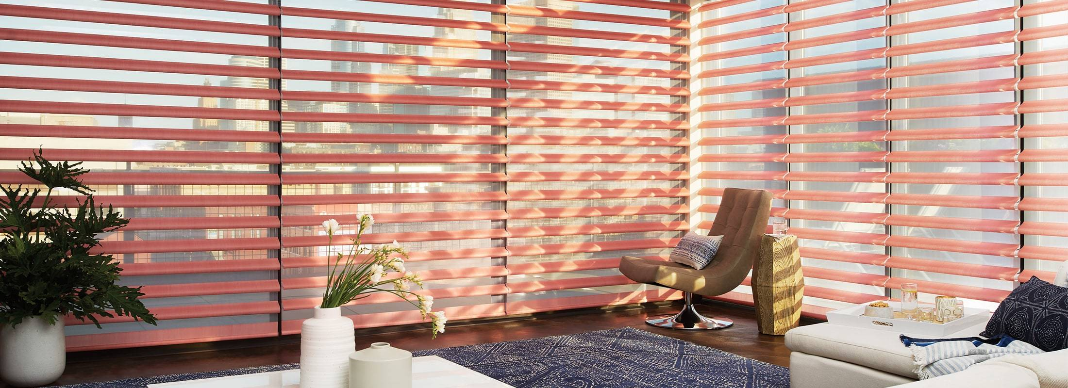 Our innovative Pirouette® Window Shadings feature soft horizontal fabric vanes attached to a single sheer backing. This allows for enhanced views to the outside while maintaining privacy and the full beauty of the fabric on the inside. Learn more about Pirouette® Window Shadings.