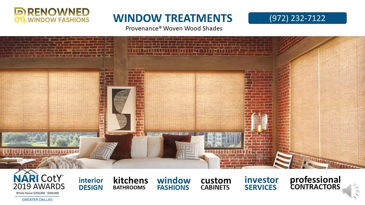 ATTACHMENT DETAILS  Renowend-Window-Fashions-Provenance®-Woven-Wood-Shades.jpg January 27, 2019 243 KB 1280 × 720 Edit Image Delete Permanently URL http://renownedrenovation.com/wp-content/uploads/2019/01/Renowend-Window-Fashions-Provenance®-Woven-Wood-Shades.jpg Title Renowend-Window-Fashions-Provenance® Woven Wood Shades Caption Alt Text Description Smush Smushing in progress..  Select