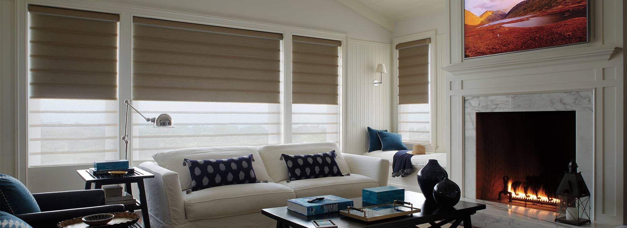Vignette® Modern Roman Shades feature consistent folds and no exposed rear cords, keeping windows uncluttered and safer. Choose from different fold styles and sizes, and beautiful fabrics that are low maintenance and easy to clean. Learn more about Vignette® Modern Roman Shades.