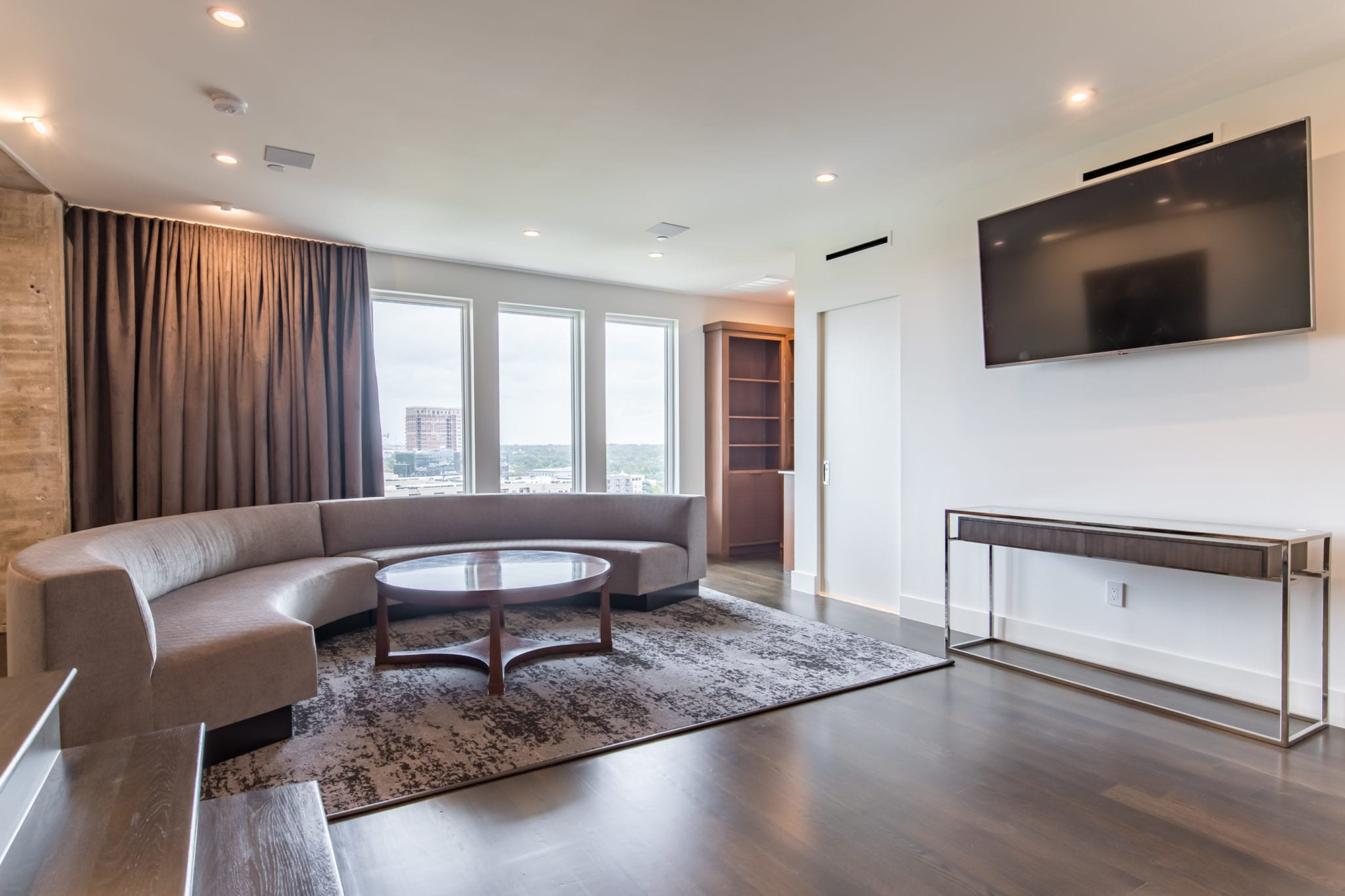 Lower Level After Remodel Bedroom Converted into entertainment area