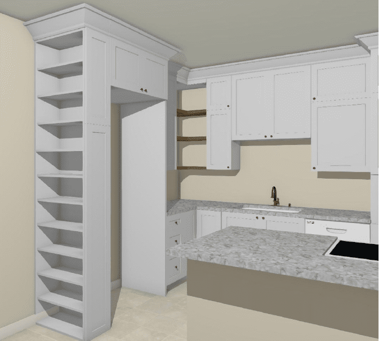Dallas Condo Before Kitchen Remodel Custom Cabinets and Bookcase Design 3D Rendering