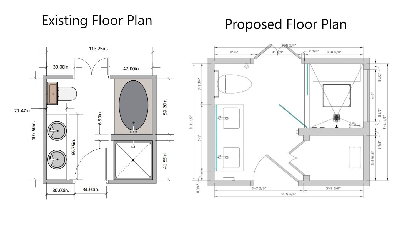 Before and After Floor Plans for Mid Rise Condo Bathroom Remodel