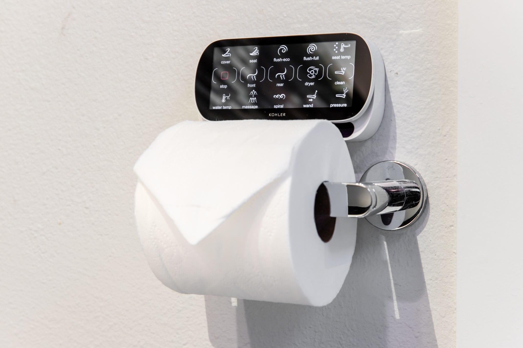 Westside Bathroom Remodel Kohler VeilR Toilet Remote and ComposedR Pivot Tissue Holder Dallas 75219