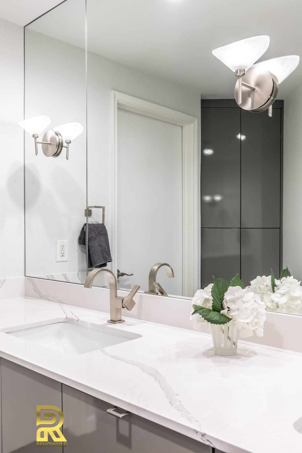 Soft Modern Master Bath Remodeling Sconce Idea
