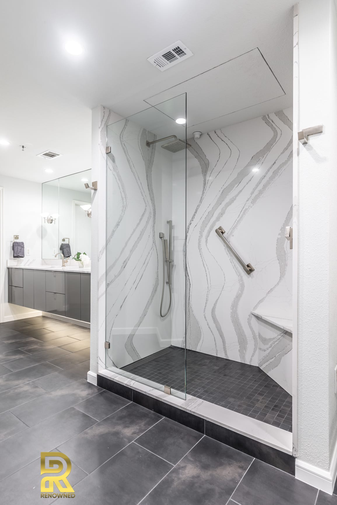 Dallas Condo Master Bathroom Walk-In Shower After Remodeling by Renowned Renovation